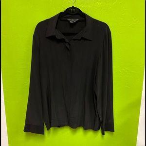 Harlan Vintage Silk Top Long Sleeve Black Size 16